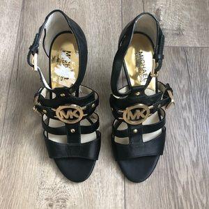 Michael Kors Leather Double Buckle Heel Sandals